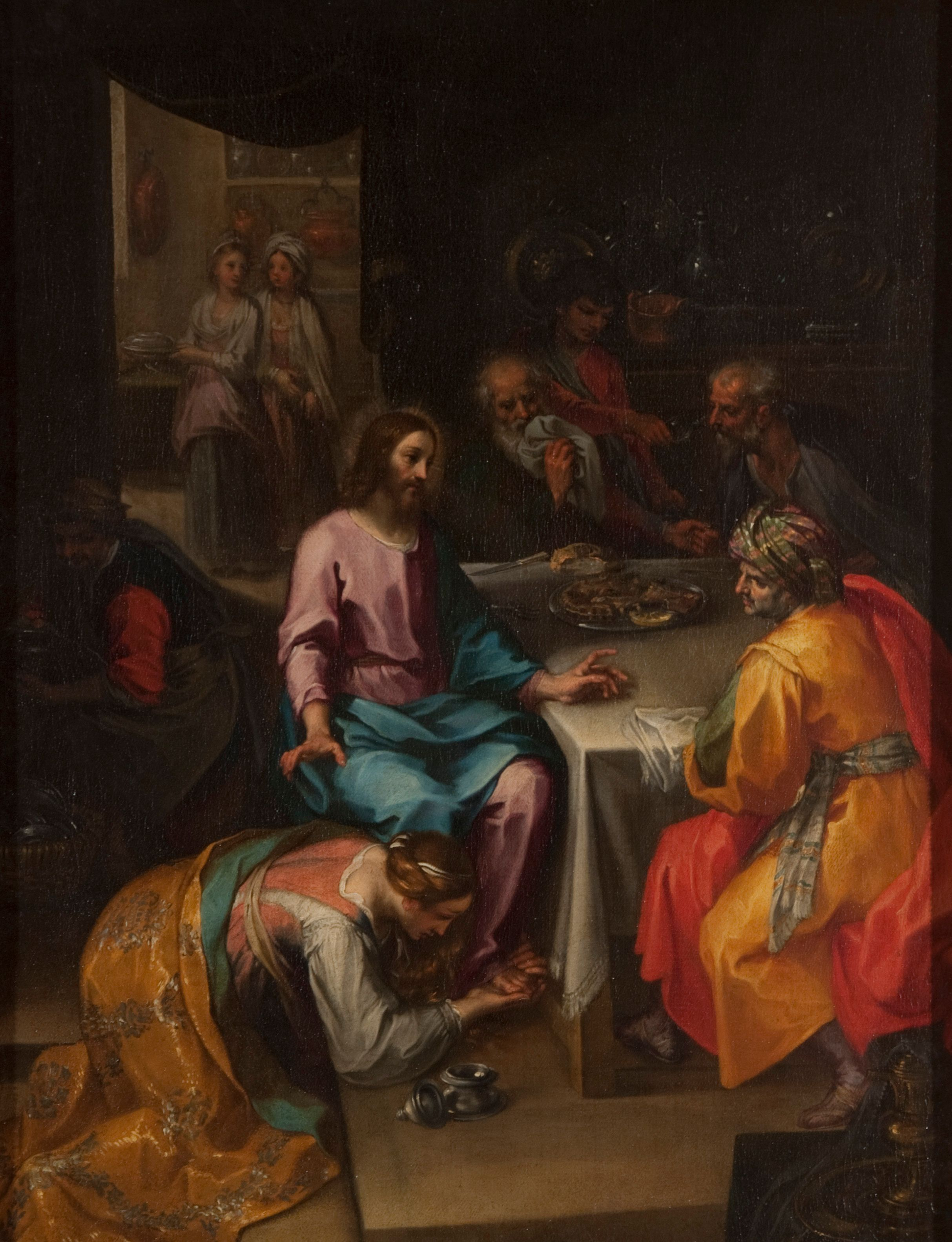 Undefined, Christ in the House of Simon the Pharisee, ca. 1600, oil on canvas. Snite Museum of Art, University of Notre Dame. Gift of Mr. and Mrs. Robert B. Mayer, 1962.007.