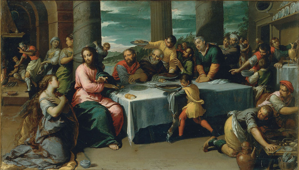 Scarsellino, Supper in the House of Simon, ca. 1590, oil on canvas. Galleria Borghese.