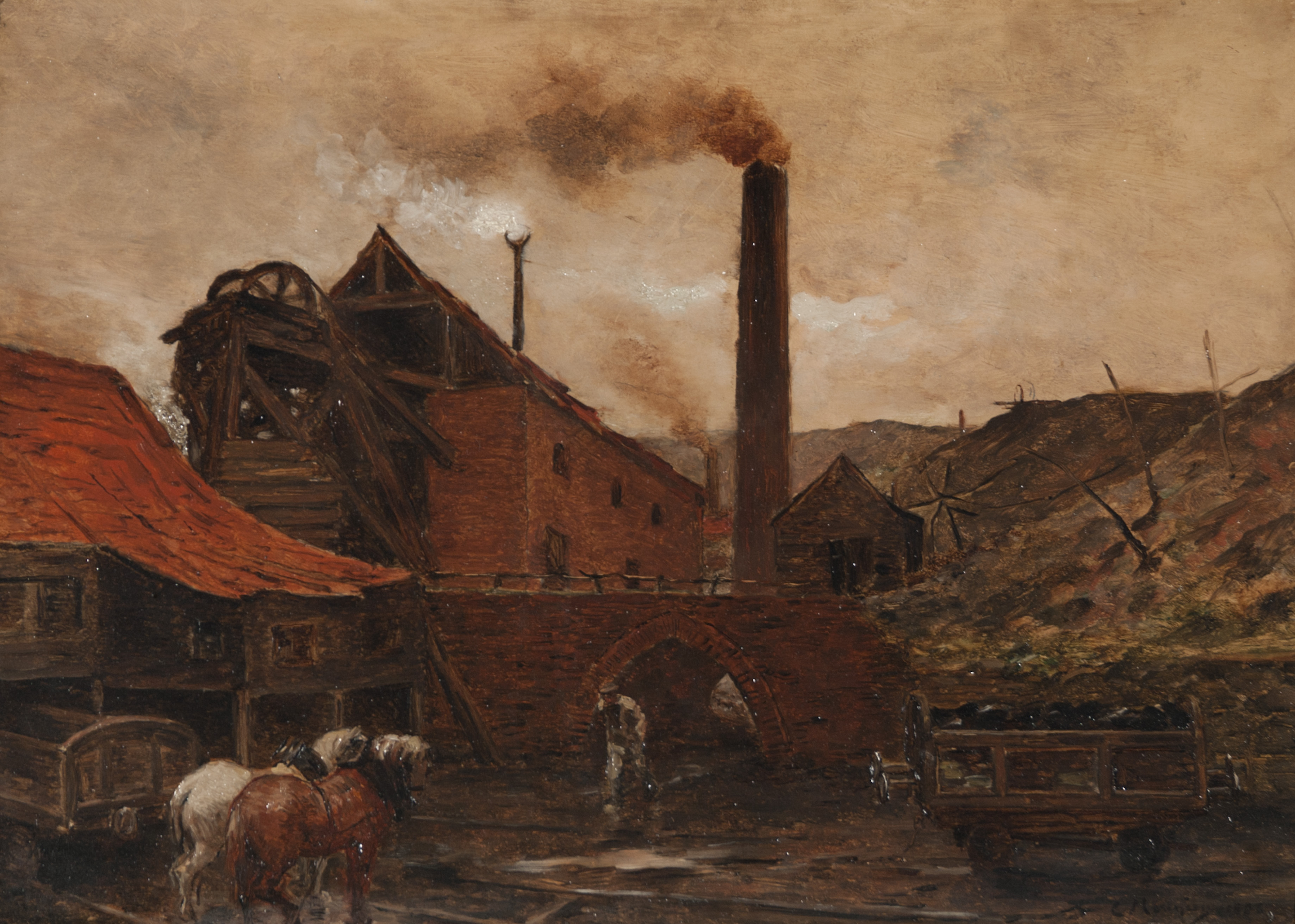 Constantin Meunier, Landscape with Factory, 1886, Oil on panel. Snite Museum of Art, University of Notre Dame. Gift of John D. Reilly '63, '64 B.S., 2013.039.001.