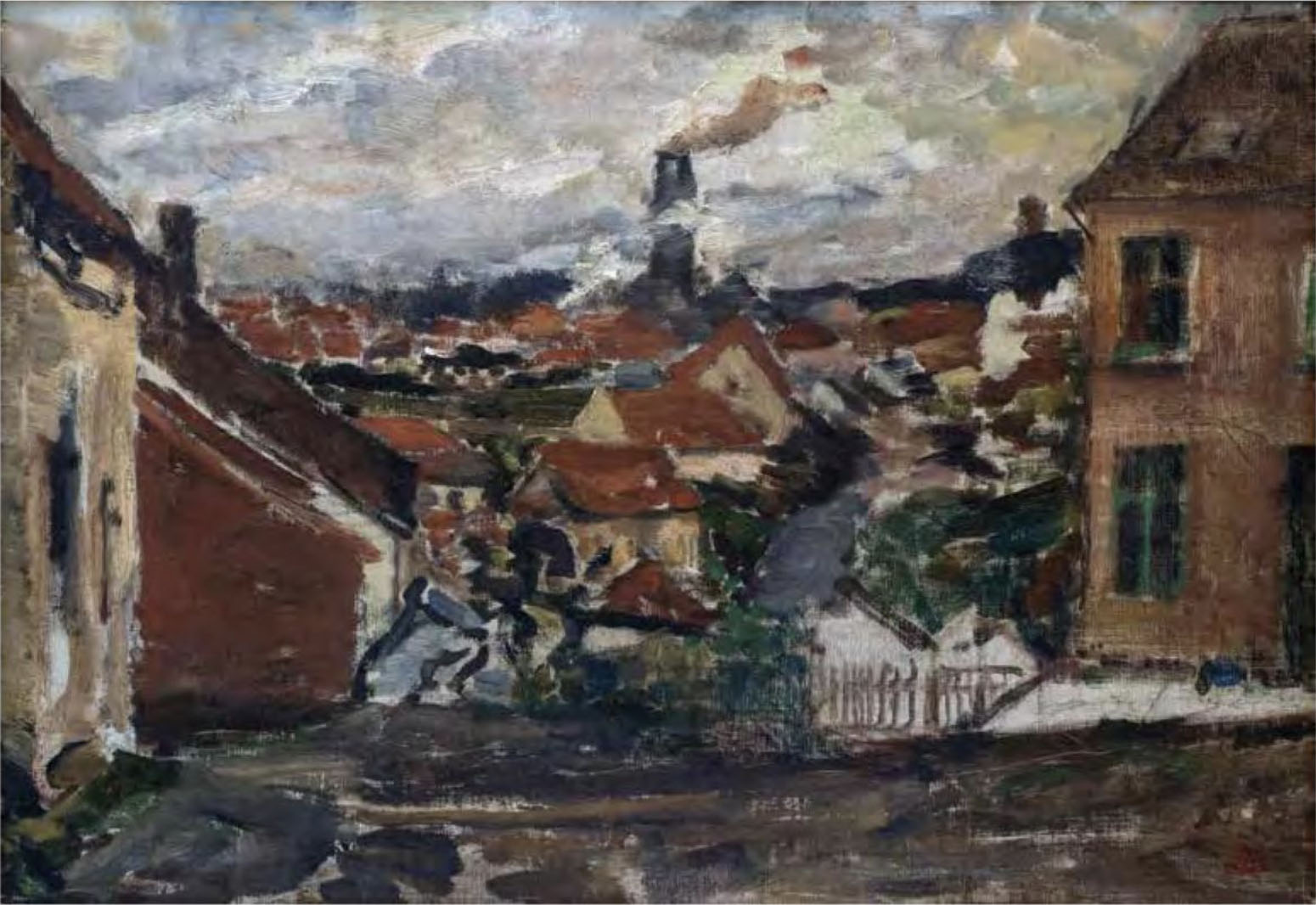 Constantin Meunier, The Red Roofs of Pâturages, after 1885, oil on canvas. Collection of Sura Levine.