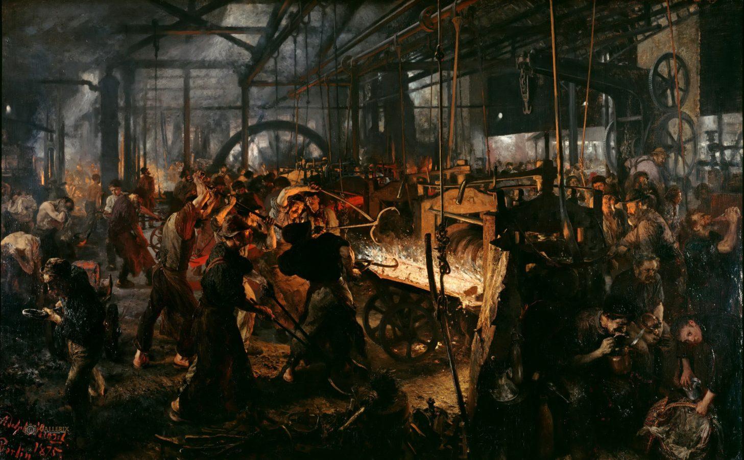 Adolf Menzel, The Rolling Iron Mill (Modern Cyclops), 1872-1875, oil on canvas, Nationalgalerie, Staatliche Museen zu Berlin.