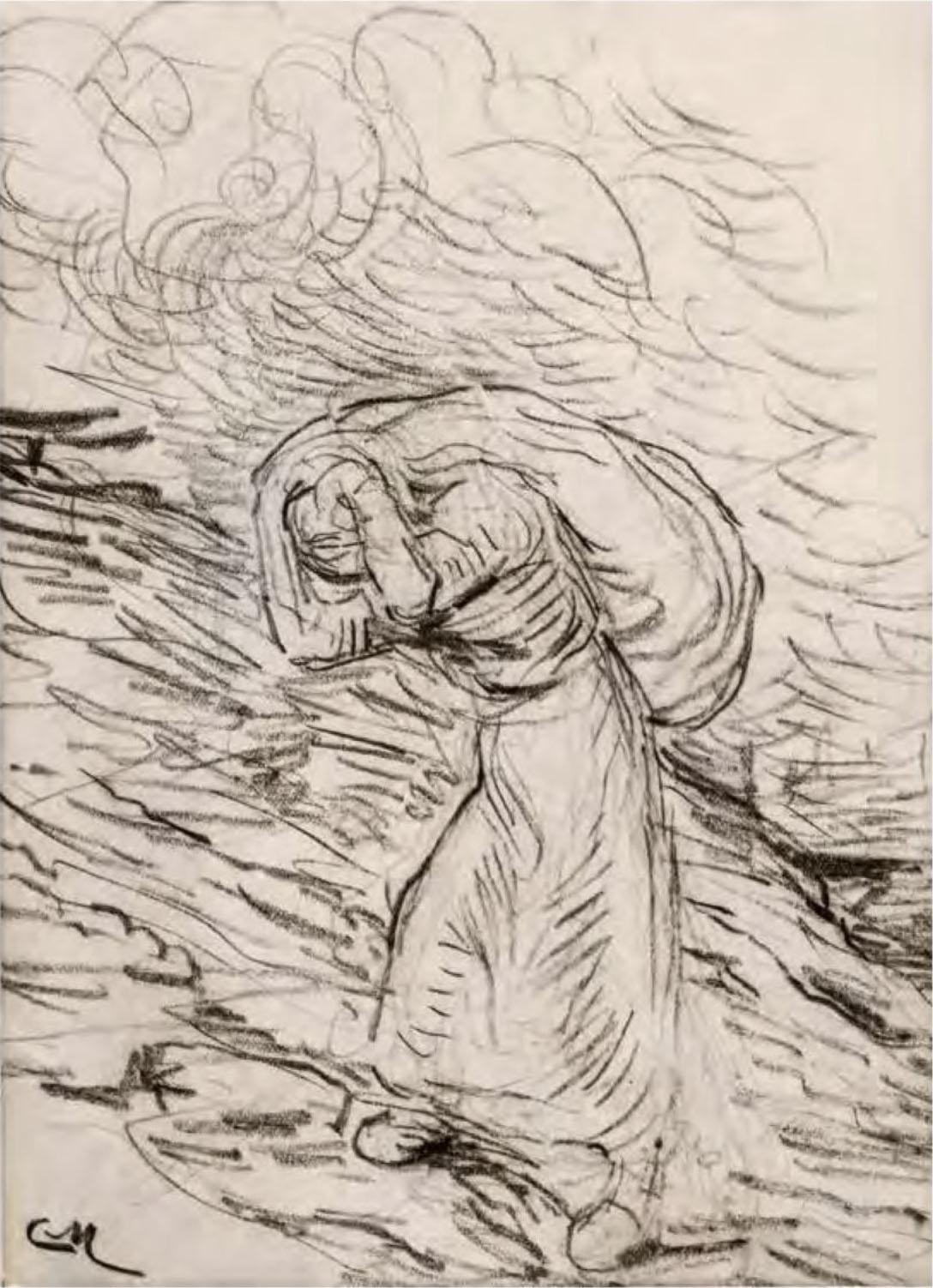 Constantin Meunier, Hiercheuse Climbing a Heap of Coal, after 1885, pencil and coal on paper. Collection of Sura Levine.